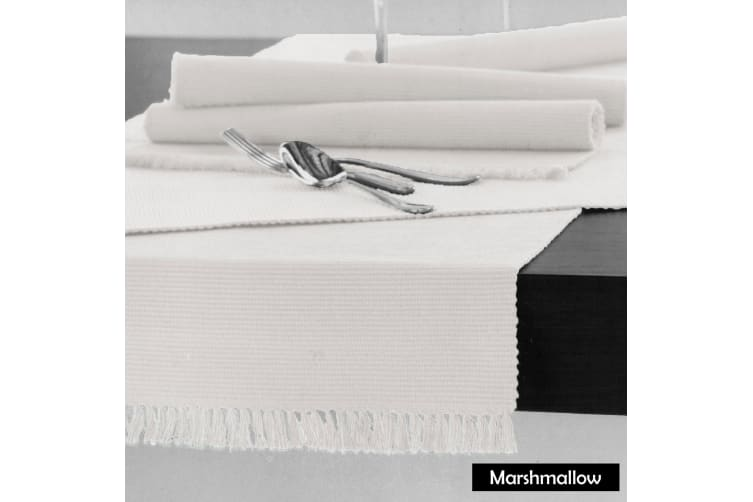 Cotton Ribbed Table Runner 45cm x 200cm - MARSHMALLOW