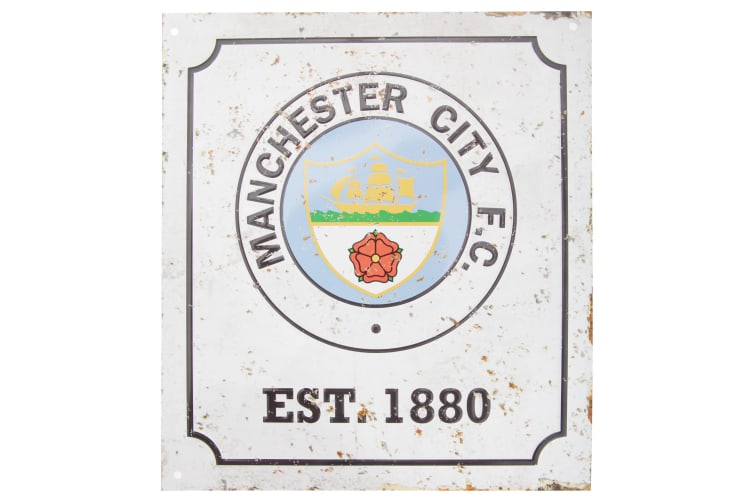 Manchester City FC Official Retro Football Crest Bedroom Sign (White/Black) (One Size)