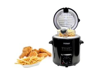 0.9L Deep Fryer Adjustable Thermostat Dial Black Stainless Steel Housing Basket