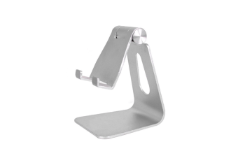 Select Mall Creative Mobile Phone Holder Folding Aluminum Mobile Phone Desktop Bracket Flat Mobile Phone Bracket-Silver