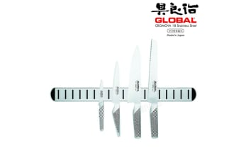 New GLOBAL 5pc Chefs Knife Set & Magnetic Rack Paring Bread Utility Cooks Japan