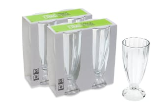 Lemon & Lime Set of 4 Glasses for Sundae Ice Cream and Milkshake Dishwasher Safe 300ml