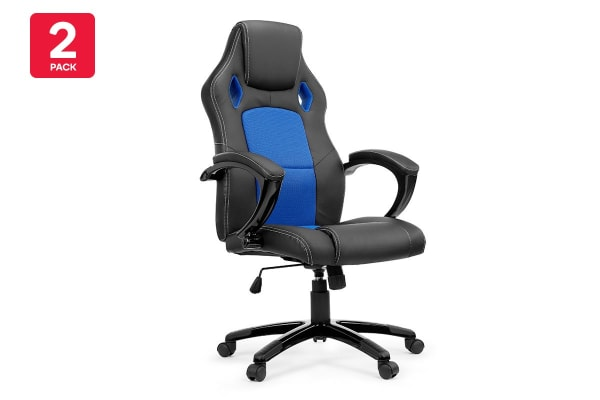 2 Pack Ergolux RX8 Deluxe Gaming Office Chair (Blue, Racing Series)