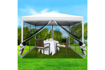 Pop Up Gazebo 3x3m Wedding Marquee Mesh Side Wall Outdoor Gazebos