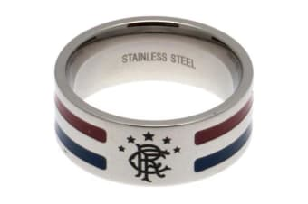 Rangers FC Medium Colour Stripe Ring (Silver) (One Size)