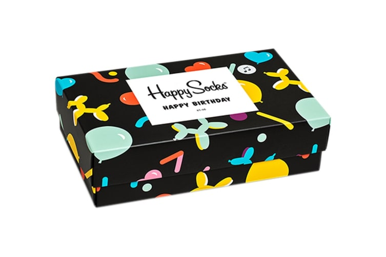 Happy Socks Balloon Animal Birthday Gift Box (Black, Size 41-46)