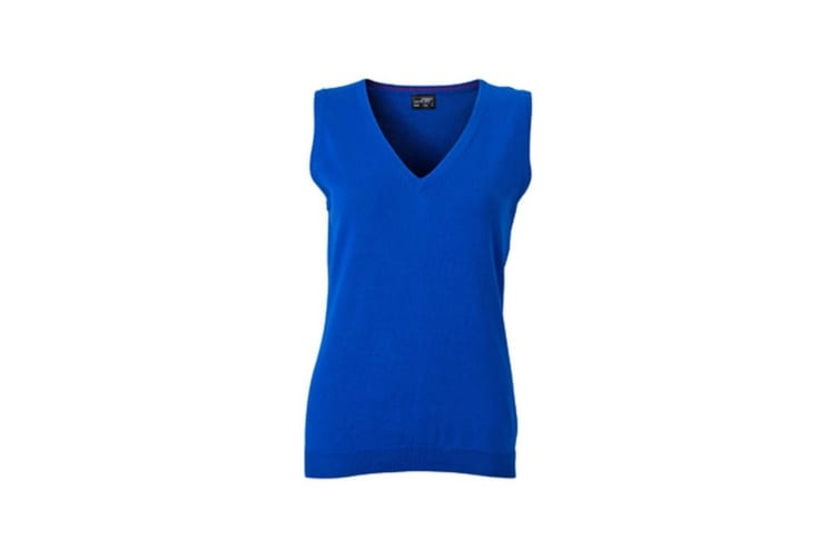 James and Nicholson Womens/Ladies V-Neck Sweater Vest (Royal Blue) (L)