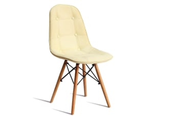 Levede 4x Retro Replica Eames PU Leather Dining Chair Office Cafe Lounge Chairs  -  Cream