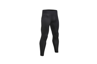 Men'S Compression Pants Pocket Baselayer Cool Dry Ankle Leggings Active Tights - Black Black S