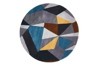 Laura Designer Wool Rug Blue Yellow Grey Round Rug