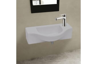 vidaXL Ceramic Bathroom Sink Basin with Faucet Hole White