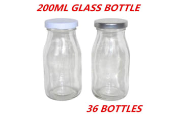 36 x Mini Small Glass Milk Juice Candy Bottle 200ML With Screw Top Silver White Lid