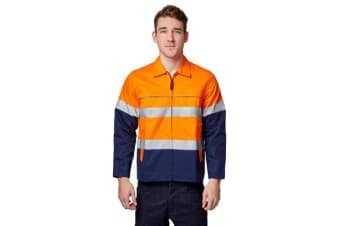 King Gee Reflective Spliced Drill Jacket (Orange, Size XS)
