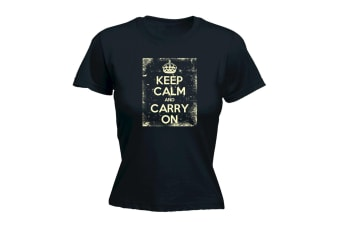 123T Funny Tee - Keep Calm And Carry On Frame - (Large Black Womens T Shirt)