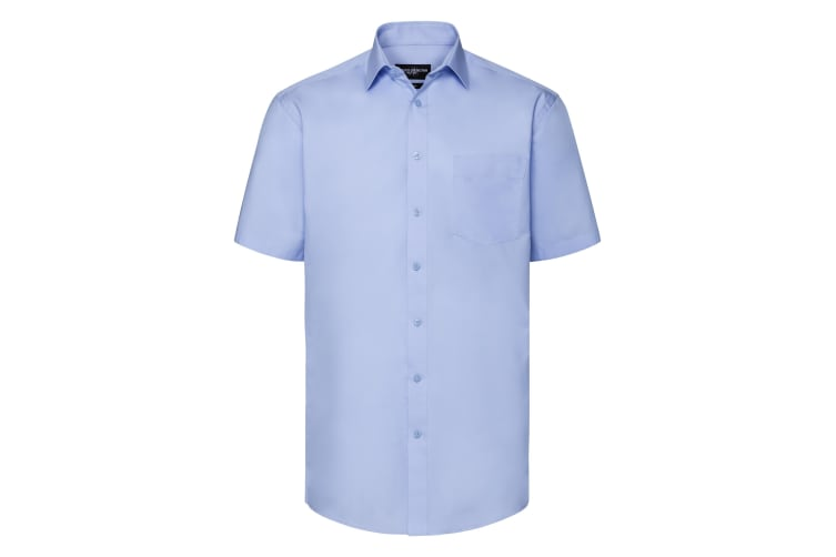 Russell Collection Mens Short Sleeve Tailored Coolmax Shirt (Light Blue) (M)