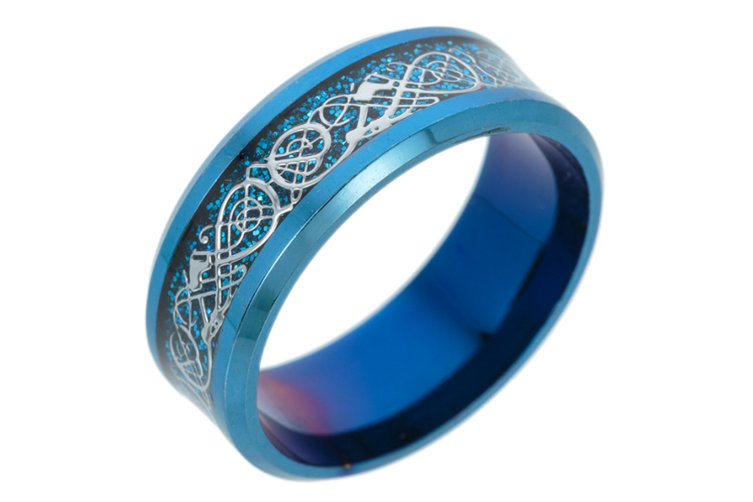 Dragon Scale Dragon Pattern Beveled Edges Celtic Rings Jewelry Wedding Band for Men 10