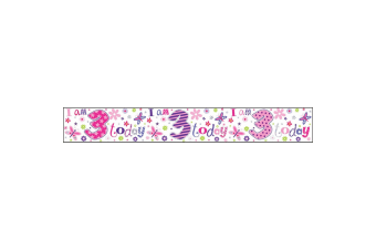 Simon Elvin I Am 3 Today Holographic Foil Banner (Pink) (Pack of 6)