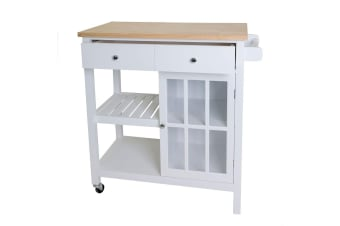 New Wooden Kitchen Utility Trolley Cart 2 Drawer Shelves Cabinet Rack White