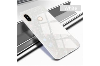Shiny Seashell Pattern Tempered Glass Hard Back Cover Shell For Xiaomi White Xiaomi 8Explorer Edition
