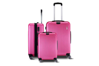 3-Piece Set Hard-shell Luggage with Spinner Wheels - Rose Red
