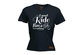 Ride Like The Wind Cycling Tee - A Good Fixes Everything - (Medium Black Womens T Shirt)