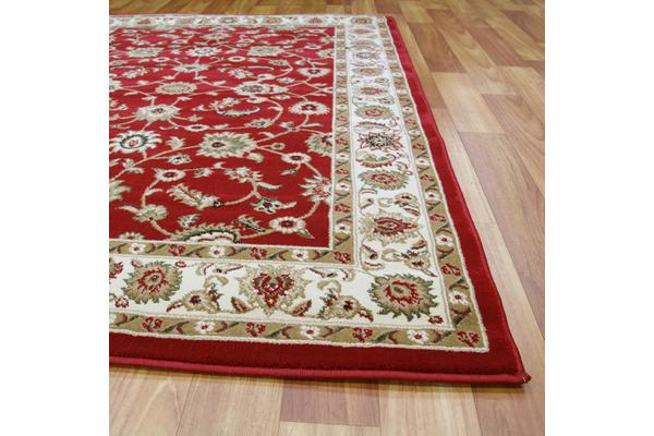 Classic Rug Red with Ivory Border 150x80cm