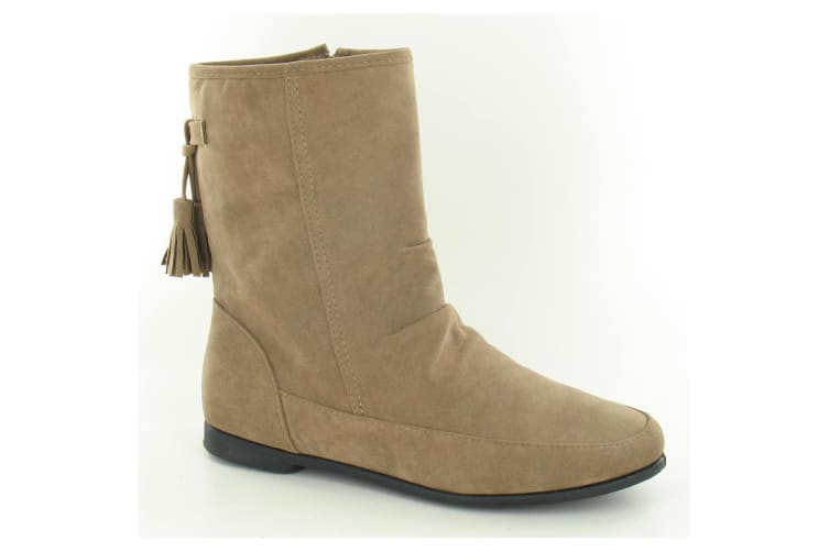 Spot On Womens/Ladies Flat Ankle Boots (Taupe) (5 UK)