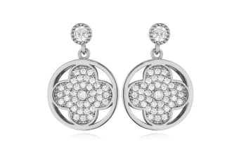 Couture Clover Earrings-White Gold/Clear
