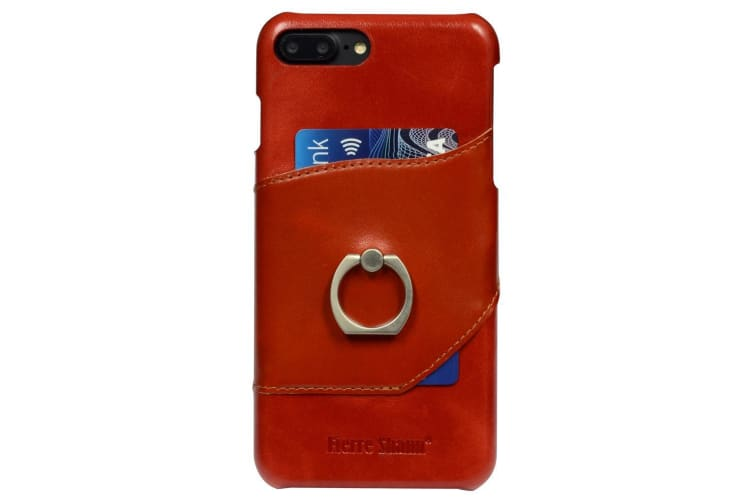 pretty nice 4f9ab 3134d For iPhone 8 PLUS 7 PLUS Case Fierre Shann Ring Holder Genuine Leather  Cover Red