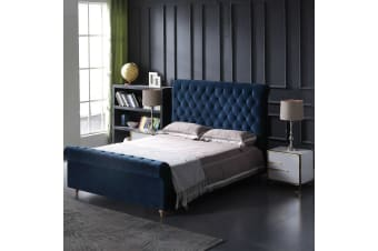 Paris Luxurious Bed Upholstered in Velvet Blue with Studded Trim