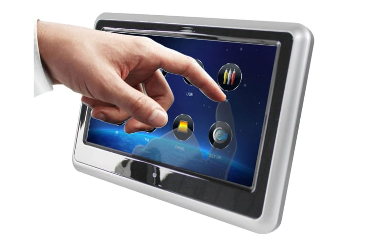"""Elinz 2x 9"""" TFT Headrest Car DVD Player Touch Screen Active Slim Full HD 1080P Games Ultra-Thin Silver"""