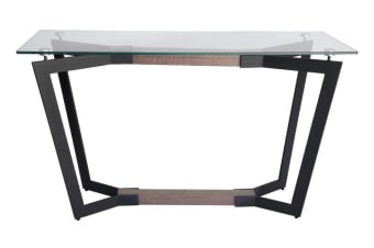 Delta Collection | Glass Console Table | Matte Black & Walnut