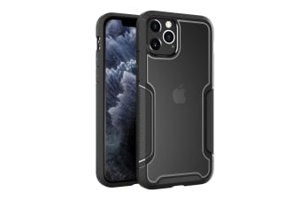 ZUSLAB iPhone 11 Pro Max Case Armor Shield Anti Slip & Anti Scratch Rubber Bumper with Protective Hard Back Cover for Apple - Black & Grey