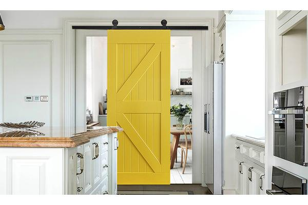 Antique Yellow Single Classic Sliding Barn Door Track Kit For Single
