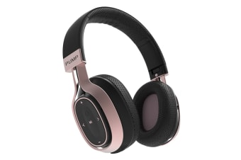 BlueAnt Pump ZONE Wireless Bluetooth Over Ear HD Audio Headphones - Black/Rose Gold