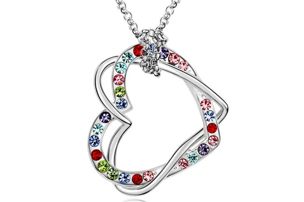 Two Hearts Entwined Necklace Multi Color w/Swarovski Crystals-White Gold/Multicolour