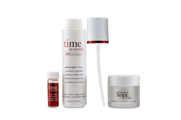 Philosophy Hydrating & Glow Renewing Duo: Time In A Bottle Serum+Activator+Renewed Hope In A Jar 3pcs