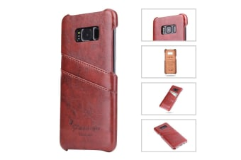 For Samsung S8 Plus Brown Deluxe Leather Flip Wallet Phone Case Shockproof Case