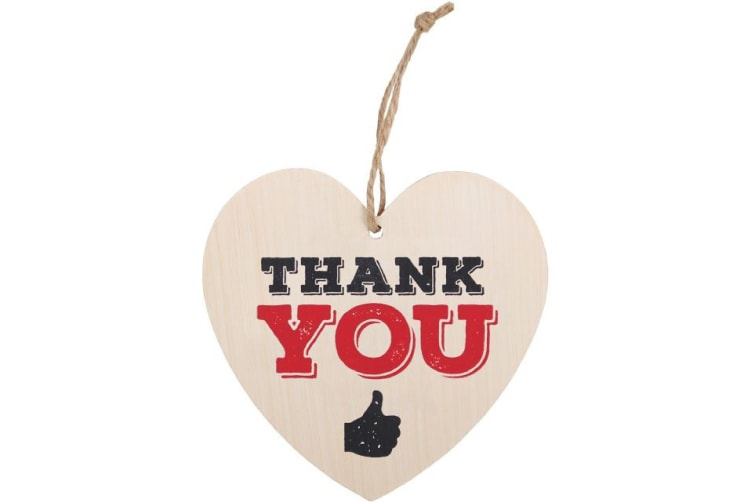 Something Different Thank You Hanging Heart Sign (Multicoloured) (One Size)