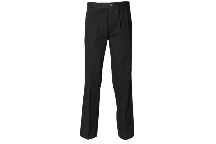 Henbury Teflon® Coated Stain Resistant Flat Front Chino Workwear Trousers (Black) (30 x Long)