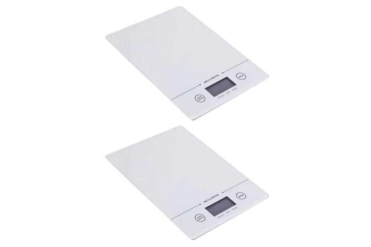 2PK Acurite Slim Line Glass 5kg Digital Kitchen Food Nutrition Scale Weight WHT
