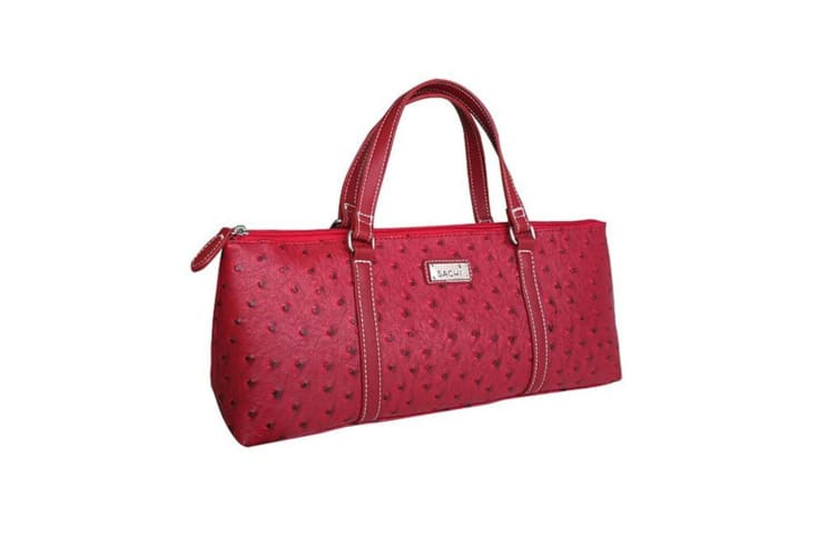 Sachi Insulated Wine Cooler Travel Bag Purse Tote Carrier Handbag Ostrich Red