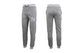Mens Womens Unisex New York Yankees Fleece Lined Sport Joggers Sweat Track Pants - Light Grey - Light Grey