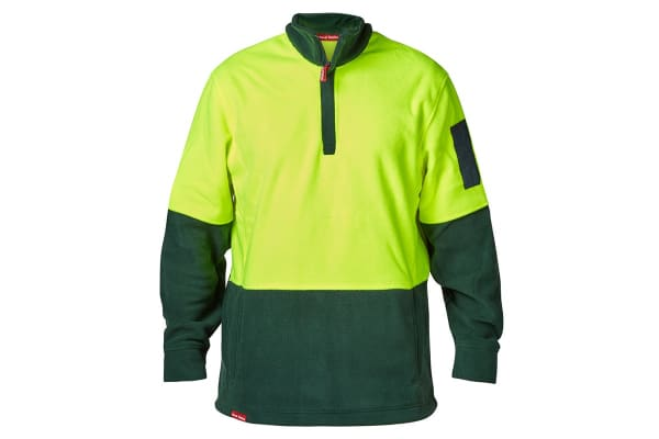 Hard Yakka Men's Hi-Vis Two Tone Polar Fleece 1/4 Zip Jumper (Yellow/Green, Size XL)