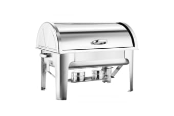 SOGA 2*4.5L Stainless Steel Roll Top Chafing Dish Dual Trays Food Warmer