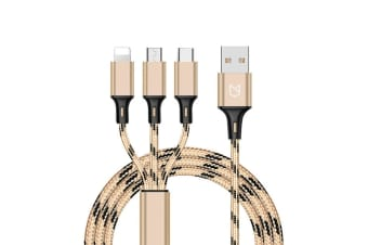 3 in 1 Multi USB Charger Charging Cable Cord For iPhone USB TYPE C Android Micro For Gold