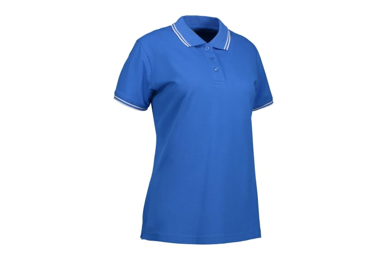 ID Womens/Ladies Stretch Contrast Polo Shirt (Azure) (3XL)