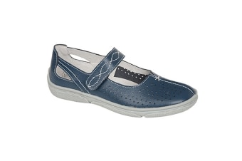 Boulevard Womens/Ladies Touch Fastening Punched Summer Bar Shoes (Navy) (8 UK)