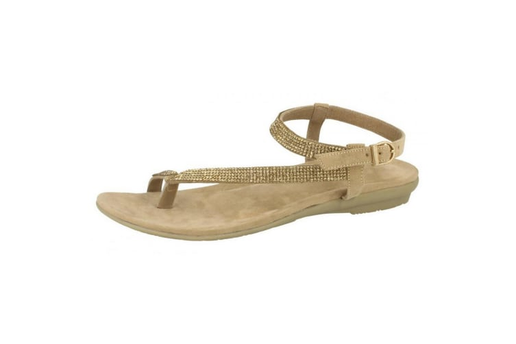 Leather Collection Womens/Ladies Y Strap Toe Loop Sandals With Diamante Trim (Gold Suede) (7 UK)