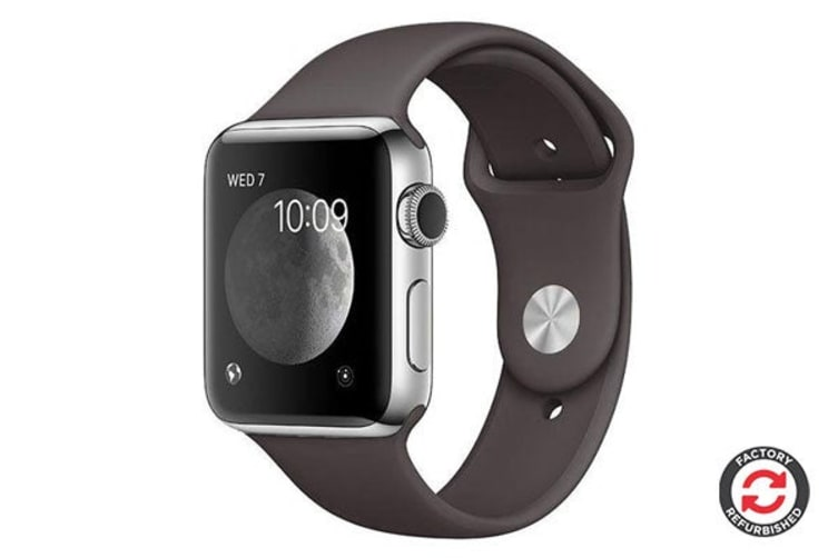 Apple Watch Series 2 Refurbished (Silver, Stainless Steel, 38mm, Sports Black) - AB Grade